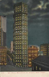 NEW YORK CITY, 1900-10s, St Paul Building at night