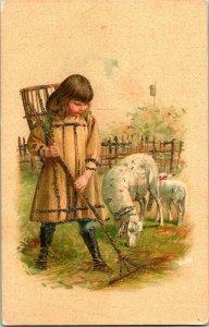 Vtg Tarjeta Postal 1900s Udb Niña Con Corderos Esmerilado Y Cesta Espalda Nuevo