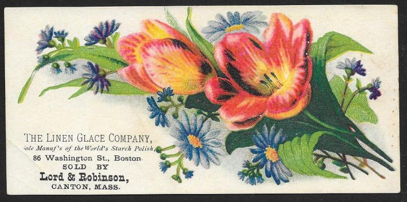 VICTORIAN TRADE CARD Linen Glace Starch Polish Flowers