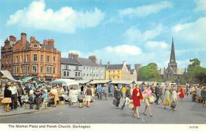 Darlington, The Market Place and Parish Church car bus animated commerce