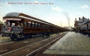 Northern Pacific Train and Depot, Spokane, WA, USA Railroad Train Depot Unused