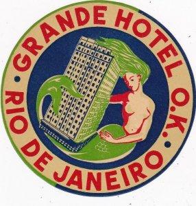 Brasil Rie De Janeiro Grande Hotel O K Small Vintage Luggage Label sk4008