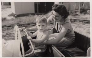 South African Child In Dodgem Type Car WW2 Vintage Plain Back Postcard Photo