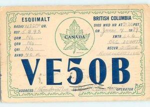 1930s QSL RADIO CARD Vancouver Island British Columbia BC AH3278