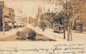 Boston MA Everett Square Trolley Business District in 1907 RPPC Postcard