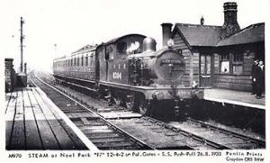 Noel Park Pal Gates 1933 London Push Pull Station Train Railway Photo Postcard