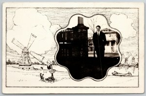 Ray Alfred by Brick Pillar~RPPC~Octofoil Portal~Dutch Scenery~Masked Border~1910
