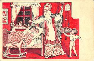 Christmas Santa Claus White Robed Signed Benesch Children Angel Postcard