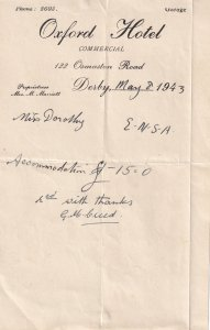Oxford Garage Hotel Derby 1943 WW2 Receipt