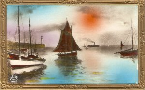 Fishing Boats Group of three (3) nice  vintage postcards