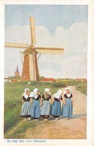 Lot 61 netherlands types folklore costume children the way home zeeland windmill
