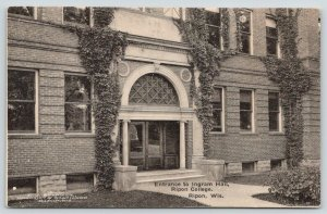 Ripon College Wisconsin~Ingram Hall Entrance~Beveled Half-Moon Window~c1910 B&W