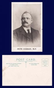 UK DURHAM PETE CURRAN MP FROM JARROW DIVIDED BACK POSTCARD CIRCA 1907
