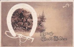 Hearty Good Wishes Horseback Rider & White Horseshoe 1909