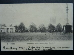 HEREFORD Castle Green NELSON'S MONUMENT & CATHEDRAL c1902 UB Postcard by P.S.Co.