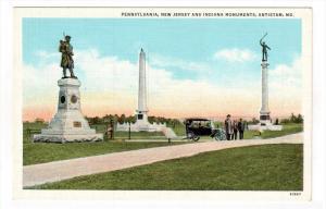ANTIETAM, Maryland, 1900-1910's; Pennsylvania, New Jersey And Indiana Monuments
