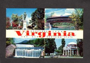 VA Greetings From Virginia Stonewall Jackson Statue Civil War Virginia Postcard