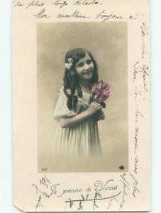 tinted rppc c1910 CUTE GIRL AC9029