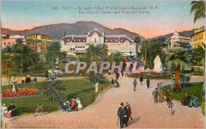 530 Old Post Card nice garden albert 1 and the Municipal Casino r m