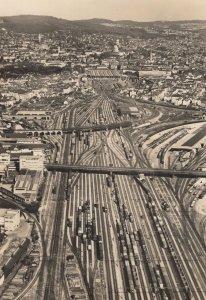 Zurich Traffic Car Aerial Hauptbahnhof Sweden Real Photo Postcard