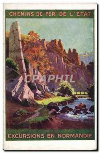 Postcard Old Train Railways of & # 39Etat Tours in Normandy