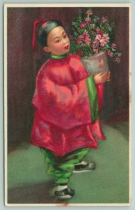 San Francisco CA~Sing Fat Co Chinese Children~Boy & Flower Vase~Artist~1908 Adv