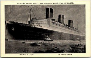 Vintage CUNARD WHITE STAR Steamship Postcard RMS QUEEN MARY c1940s / Unused