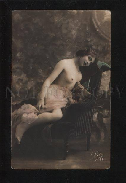 054711 NUDE BELLE Woman on Chair Vintage PHOTO tinted LEO #69