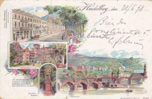 Multi-Views, Bridge, Statue, Etc., Heidelberg (Baden-Württemberg), Germany, ...