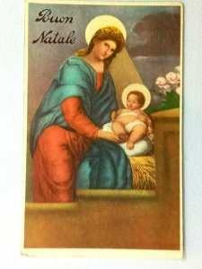 Vintage Postcard 1930's Buon Natale Woman and Baby in a Manger Religious