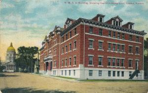 Y.M.C.A. Building, Showing Capitol In Background, TOPEKA, Kansas, PU-1914