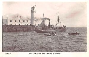 Lighthouse and Trawler Scarboro Boat Scotland Real Photo Postcard
