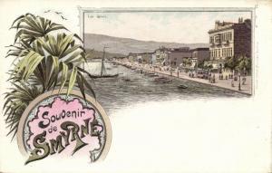 turkey, SMYRNA SMYRNE, Quais Quay, Tram 1899 Ottmar Zieher Art Nouveau Postcard