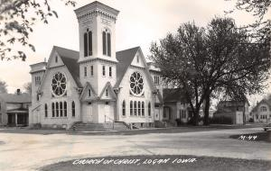 Logan IA Interesting Italianate Tower Where the Church of Christ Meets RPPC 1945