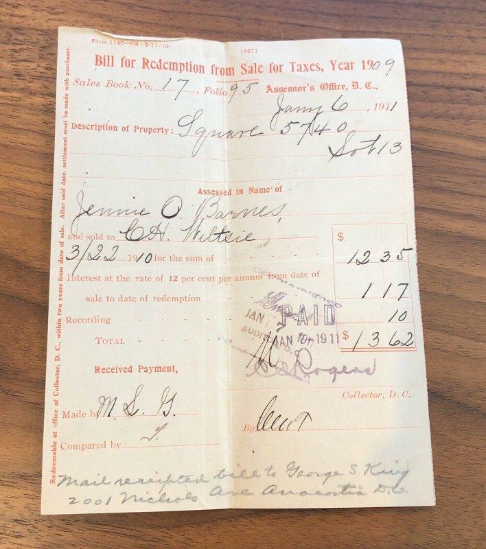 1909 - WASHINGTON DC - BILL SALE FOR TAXES - VINTAGE PAPER