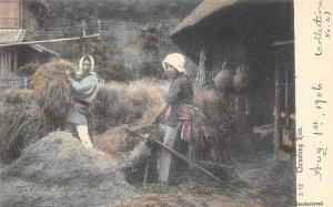Thrashing Rice Japanese Farm Workers Japan 1910s handcolored postcard