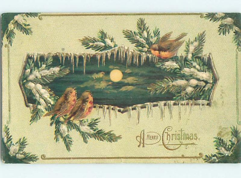 Pre-Linen christmas CUTE BIRDS SITTING ON FROZEN PINE BRANCHES HL0392