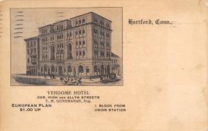 Hartford Connecticut~Vendome Hotel~High & Allen Streets~Gunshanan Prop~1914 PC