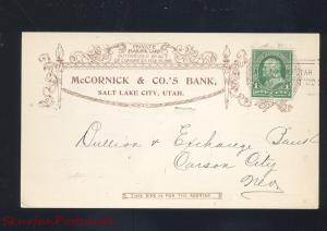 SALT LAKE CITY UTAH 1902 MCCORNICK & CO. BANK VINTAGE POSTCARD CARSON CITY NEV.