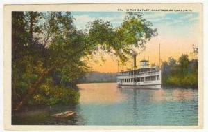 Steamship in outlet,Chautauqua Lake, New York, PU-1921r
