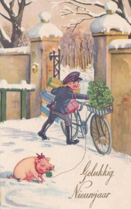 Dutch Holland Child Postman With Pig On Lead Happy New Year Antique Postcard