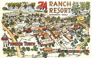 Wimberley Texas~7A Ranch Resort~Pioneer Town Aerial Map Drawing~1970s