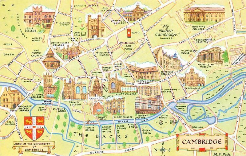 Cambridge Colleges Map Arms of the University of Cambridge Map, Colleges Multiviews