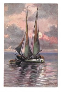 Nautical Artist Signed G Fuhrmann Seascape Sailboat and Small Boat ASM Postcard