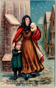 1910s LORD'S PRAYER Religious Embossed Postcard Deliver Us From Evil UNUSED
