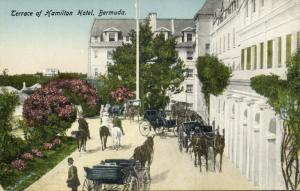 bermuda, Terrace of Hamilton Hotel, Horse Cart (1910s)