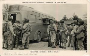 Americano Rojo Cruz Clubmobile, Gran Bretaña Gm2 Real Foto Postal Soldados