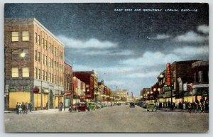 Lorain Ohio~East Erie @ Broadway~Night Lights~Fisher Food Store~Crowd~1940 Linen