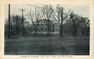Carnegie Library And City Park, OTTAWA, Kansas, 1910-1920s