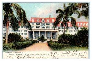 MIAMI, FL Florida ~ Entrance HOTEL ROYAL PALM  1907  Rotograph Postcard